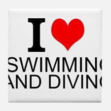 I Love Swimming And Diving Tile Coaster
