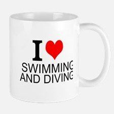 I Love Swimming And Diving Mugs