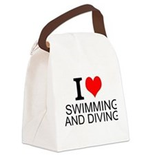 I Love Swimming And Diving Canvas Lunch Bag