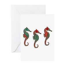 Three Metallic Xmas Seahorses Greeting Cards