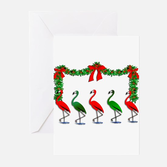 Dancing Xmas Flamingos Greeting Cards