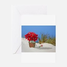 Pointsettia in a Sand Pail Greeting Cards