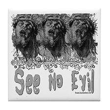 Grunge See No Evil Tile Coaster