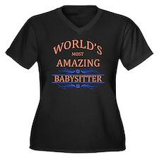 Babysitter Women's Plus Size V-Neck Dark T-Shirt
