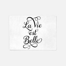 la vie est belle, life is beautiful 5'x7'Area Rug