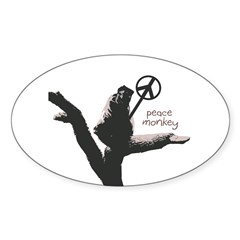 Peace Monkey Oval Bumper Decal