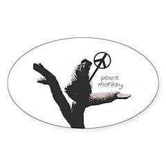 Peace Monkey Oval Bumper Decal