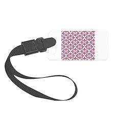 Magenta Pink White Retro Damask Luggage Tag