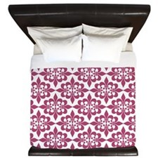 Magenta Pink White Retro Damask King Duvet