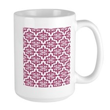 Magenta Pink White Retro Damask Mugs