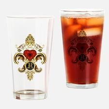 Monogram R Fleur de lis Drinking Glass
