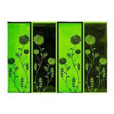 Lime Green And Black Floral Panel 5'x7'area Rug