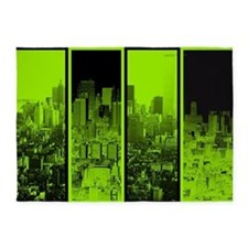 Lime Green And Black City Scape 5'x7'area Rug