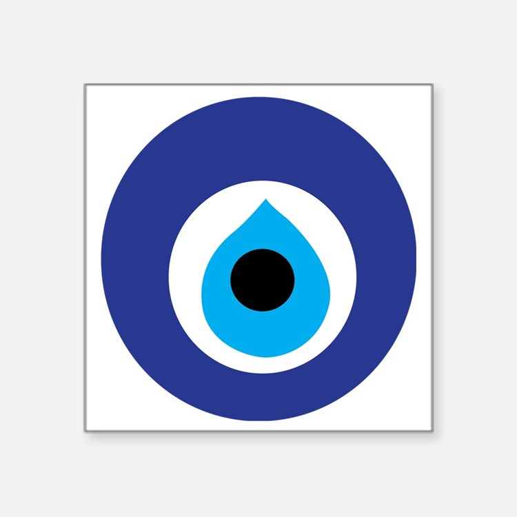 "Turkish Eye (Evil Eye) Square Sticker 3"" x 3"""