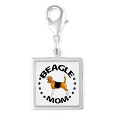 Beagle Mom Silver Square Charm