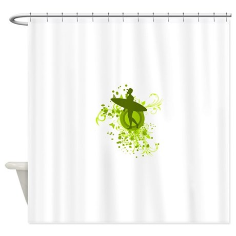 Olive Green Surfer Silhouette Shower Curtain By Justsportsshop