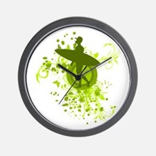 Olive Green Surfer Silhouette Wall Clock