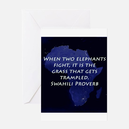 When Two Elephant Fight Greeting Cards