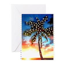 Xmas Lights Palm Tree Sunset Stamp Greeting Cards