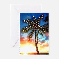 Xmas Lights Palm Tree Sunset Stamp Greeting Cards