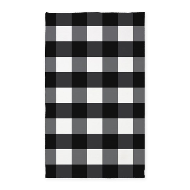 Gingham Check Black White 3 X5 Area Rug By