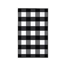 Gingham Check black white 3'x5' Area Rug