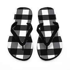 Gingham Check black white Flip Flops