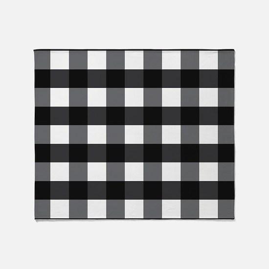 Gingham Check black white Throw Blanket