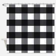Gingham Check black white Shower Curtain