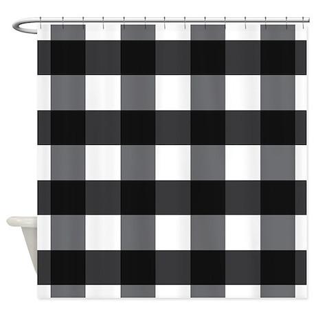 gingham check black white shower curtain