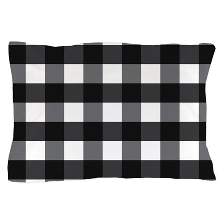 Gingham Check Black White Pillow Case By Mainstreethomewares2