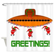 Space Aliens Christmas Shower Curtain