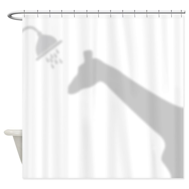 Funny giraffe shadow shower curtain by getyergoat for Funny shower curtains