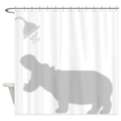 Funny Hippo Shadow Silhouette Shower Curtain