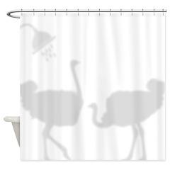 Ostrich Shadow Silhouettes Shower Curtain