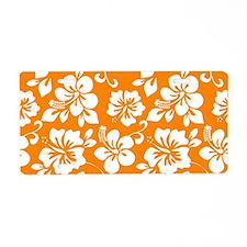 Orange Hawaiian Hibiscus Aluminum License Plate