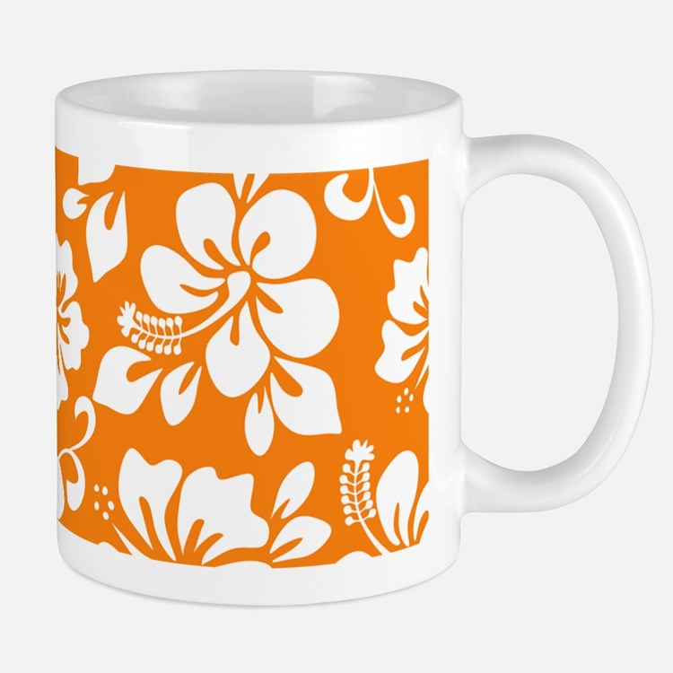 Orange Hawaiian Hibiscus Mugs