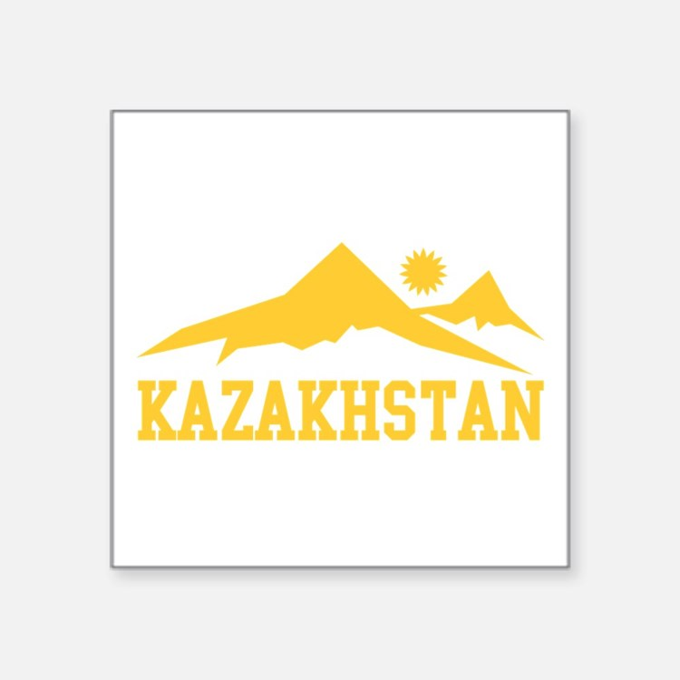 "Kazakhstan Square Sticker 3"" x 3"""