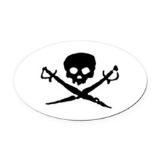 skull2-w.png Oval Car Magnet