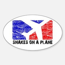 SNAKEONAPLANE.png Sticker (Oval)