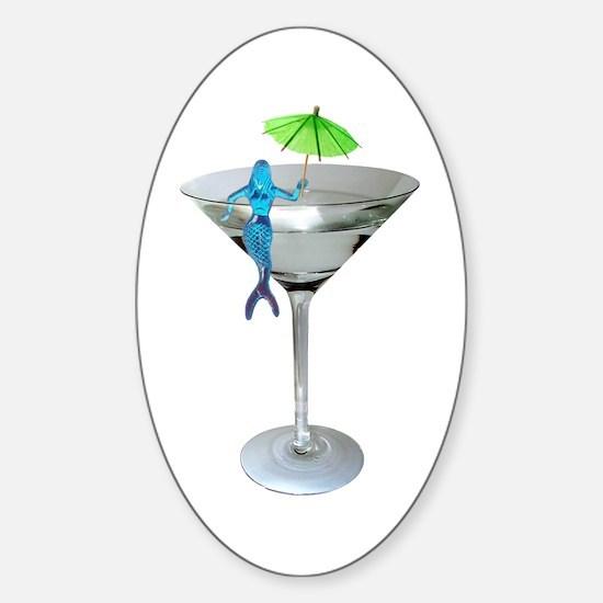 Mermaid Martini Sticker (Oval)