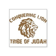 "conquering-lion-w.png Square Sticker 3"" x 3"""