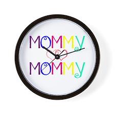 Cute Lesbian mom Wall Clock