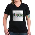 italia-football.png Women's V-Neck Dark T-Shirt