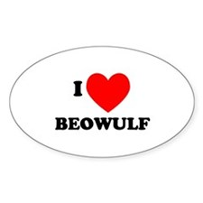 I Love Beowulf Oval Decal