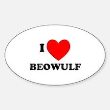 I Love Beowulf Oval Decal