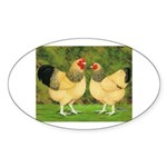 Wyandotte Rooster and Hen Oval Sticker