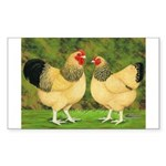 Wyandotte Rooster and Hen Rectangle Sticker