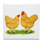 Buff Wyandotte Chickens Tile Coaster
