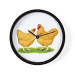 Buff Wyandotte Chickens Wall Clock